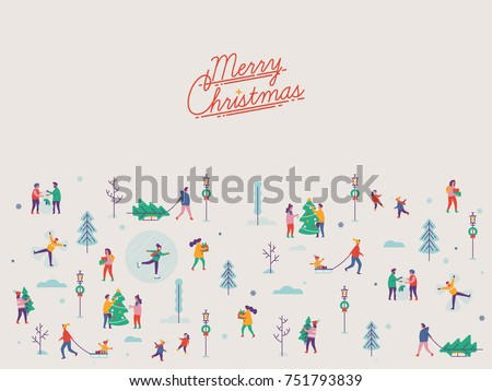 Beautiful vector 'Merry Christmas' background with abstract winter season outdoors leisure activities, people enjoying playing in snow, festive shopping, decorating trees, ice skating, etc.