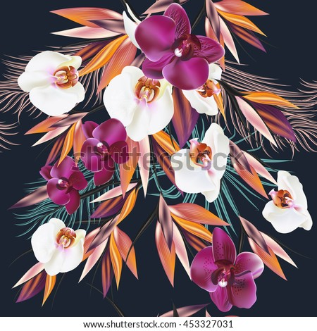Beautiful vector pattern with tropical plants orchids and palm leafs. Ideal for fabric prints patterns