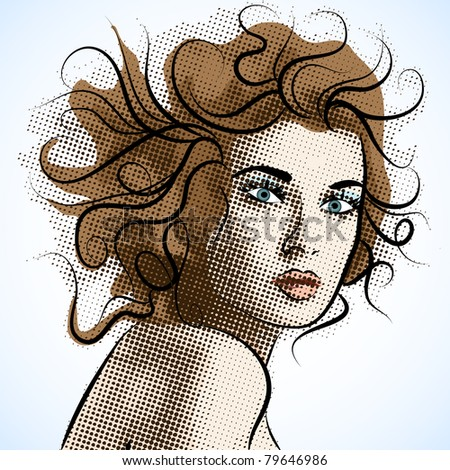 Beautiful Vector portrait of a girl.