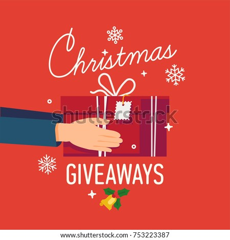 Beautiful vector poster or banner design on 'Christmas Giveaways' holiday offers with hands holding red gift box.