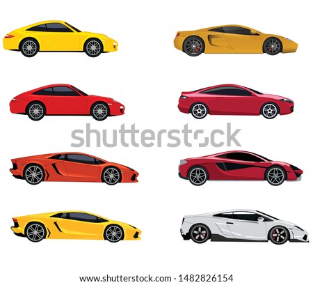 beautiful vector premium sport car, supercar - Lamborghini, Bugatti , McLaren, Porsche 911