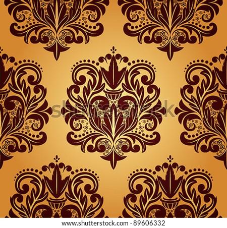 Beautiful vector seamless damask pattern.