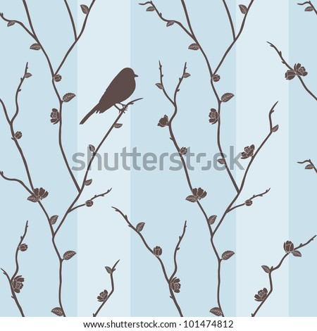 Beautiful vector seamless pattern with bird on sakura branches