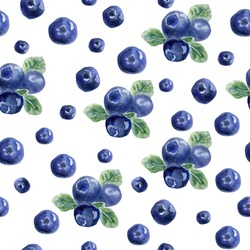 Beautiful vector seamless pattern with natural fresh blueberries. Bright blue, violet and green hand drawn watercolor elements on white background.