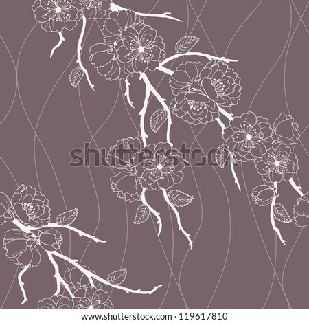 Beautiful vector seamless pattern with sakura flowers and leaves