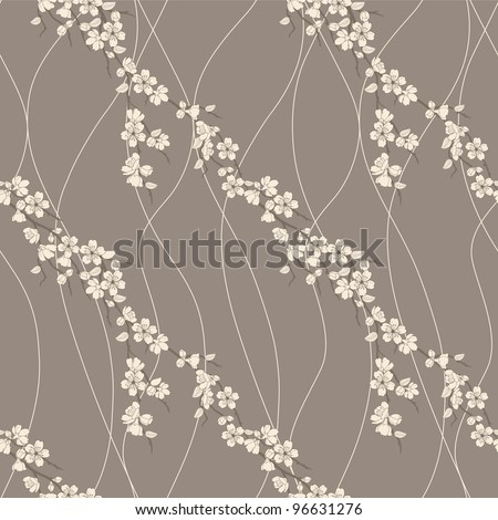 Beautiful vector seamless pattern with sakura flowers and lines - stock vector