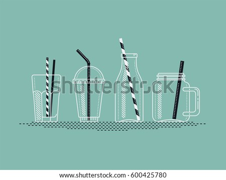 Beautiful vector set of empty jars, bottles and glasses for cocktail, juice or smoothie. Take away bottles, jars and cups with drinking straws. Ideal for smoothie and pressed juice bar menu design Stock photo ©