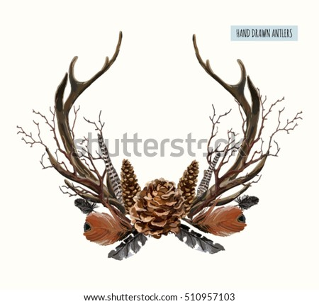 Beautiful vector set of horns with branches. Hand drawn boho chic style design elements with deer antler, pine cones, branches, feathers  isolated on white background