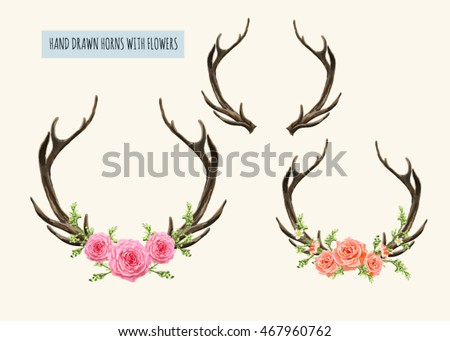 Beautiful vector set of  horns with flowers. Hand drawn boho chic style design elements with deer antler, roses, branches, leaves and various flowers isolated on white background
