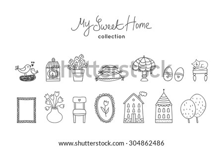 Beautiful vector set of sweet home icon in cartoon style