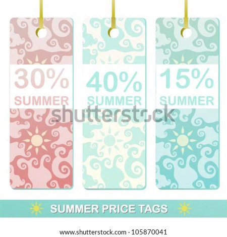 Beautiful vector summer price tags with patterns