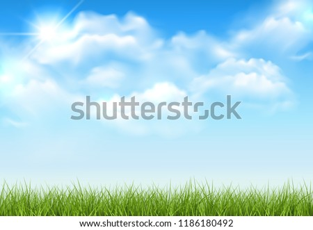 Beautiful vector sunny lawn or meadow with fluffy clouds and sun in the sky