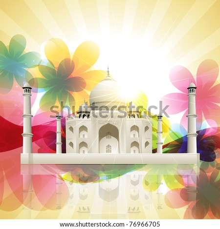 beautiful vector taj mahal on artistic flower background