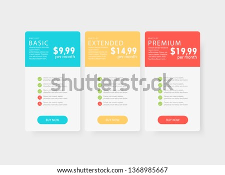 Beautiful vector template for price table / price list