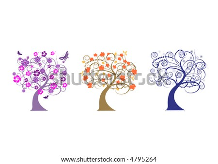 beautiful vector tree designs in different seasons