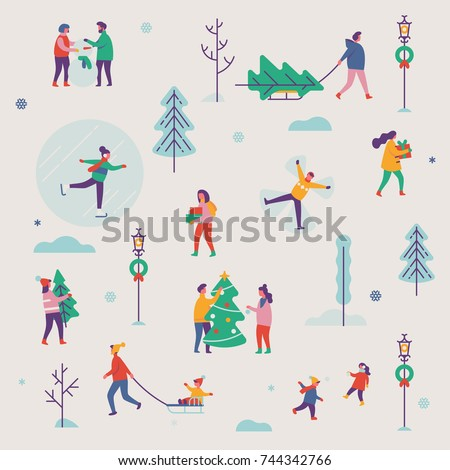 Beautiful vector winter season pattern featuring Christmas holidays outdoor activities. Abstract people making snowman, carrying xmas trees on sleigh, carrying gift boxes, ice skating, playing, etc.