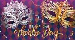 Beautiful venetian mask. Theatre Day Party invitation card template. Spring holidays. Vector illustration EPS10.