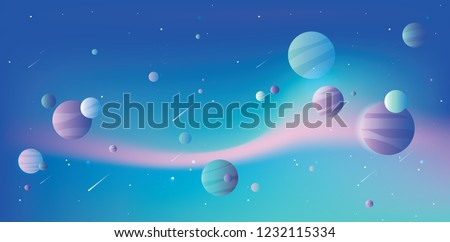 Beautiful vibrant colorful universe vector illustration with blue, pink and purple planets and falling comets