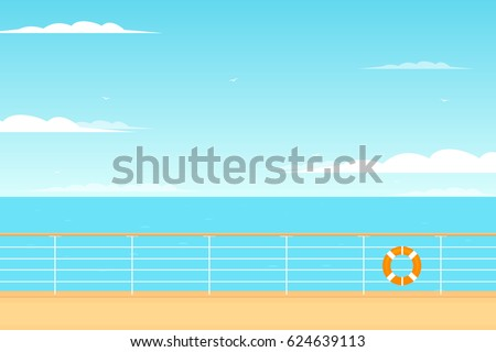 Beautiful view from the cruise ship deck. vector illustration