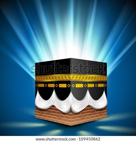 ... Qaba or Kaaba Sharif on shiny rays background. EPS 10. - stock vector