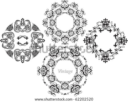 beautiful vintage black decorative pattern on a white background