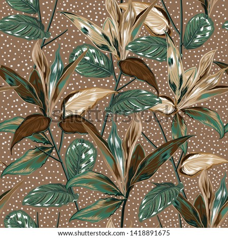 Beautiful vintage Botanical plants and wild forest vector seamless pattern with polka dots design for fashion,fabric,web,wallpaper,wrapping ,paper and all prints on retro beige  background color