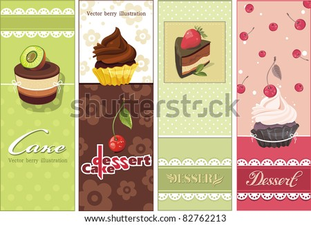 Beautiful Vintage Card With Sweet Cupcake. Dessert Set Banners