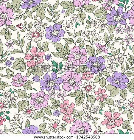Beautiful vintage floral pattern in small realistic flowers. Small mauve flowers. White background. Liberty style print. Floral seamless background. The elegant the template for fashion prints.