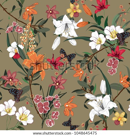 Beautiful vintage Floral pattern in the many kind of flowers. Tropical botanical  Motifs scattered random. Seamless vector texture.fashion prints. Printing with in hand drawn style on stylish brown
