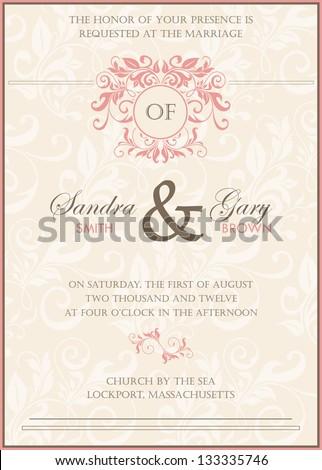 Beautiful vintage floral wedding invitation. Vector illustration
