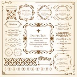 Beautiful vintage frame decoration, antique ornament borders