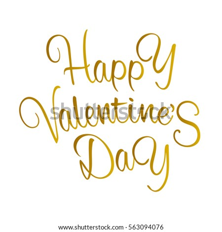 Beautiful vintage gold inscription wish Happy Valentine's Day isolated on white