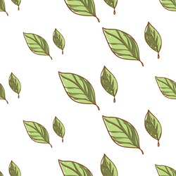 Beautiful vintage hand drawn leaf seamless pattern. Cute artistic decoration for bakery menu background, market, shop, cafe design in watercolor style on white background