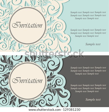 Beautiful vintage invitations. Vector illustration