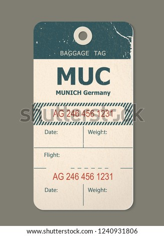 Beautiful vintage luggage tag, vintage retro travel label. Check, baggage ticket for passengers at the airport. Bus, train, airline trip. Munich germany, country label. Vector illustration isolated.
