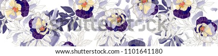 Beautiful vintage seamless floral pattern background. Bouquets of leafs and violets