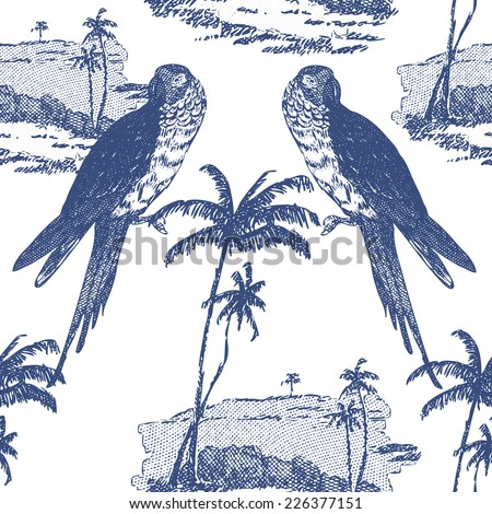 Beautiful vintage seamless floral pattern background. Parrots and palm trees on white background