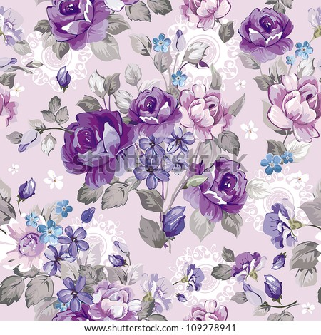 Beautiful vintage seamless pattern for retro wallpapers. Abstract background with flowers. Fashion vector illustration texture.