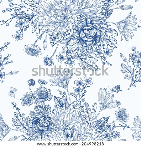 Beautiful vintage seamless pattern with  bouquets of blue flowers. Garden asters, chrysanthemums, daisies. Vector monochrome illustration.