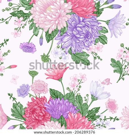 Beautiful vintage seamless pattern with bouquets of summer flowers. Garden asters, chrysanthemums, daisies. Vector illustration.