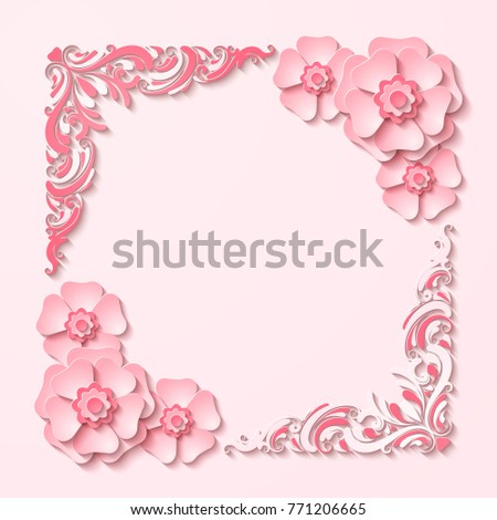 Beautiful vintage square frame with 3d pink paper cut out flowers. Vector illustration