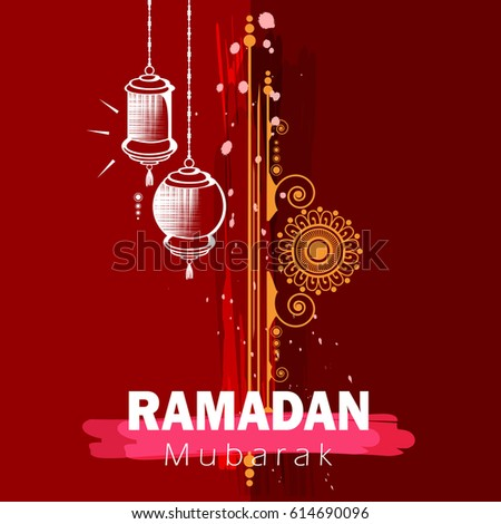 Beautiful Wallpaper design with Floral Frame, Hanging Lamps and Stylish text on grungy texture background for Muslim Holy month Ramadan Kareem.