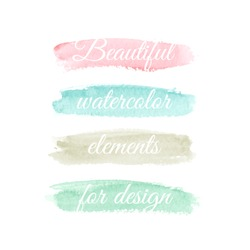 Beautiful watercolor elements for design. Pastel colors. Vector illustration