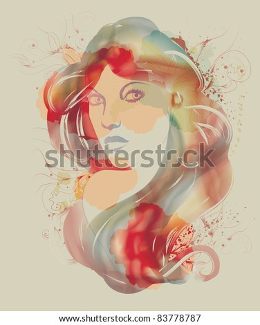 Beautiful watercolor fashion sketch of woman
