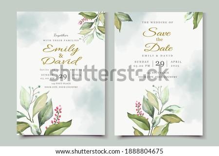 Beautiful watercolor floral invitation card set