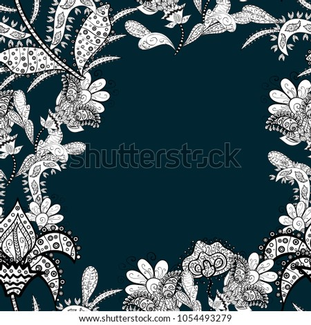 Beautiful watercolor flowers, bright painting inspiblue, white and black flower print seamless background. Vector.