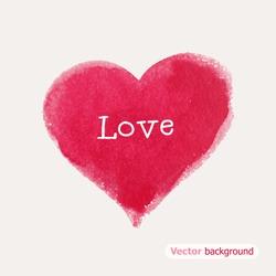 Beautiful watercolor heart. Vector illustration