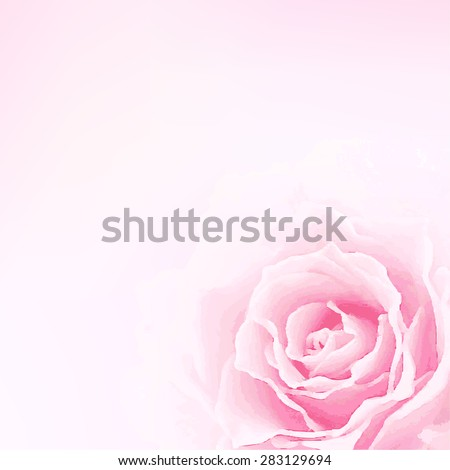 Beautiful watercolor  vector illustration with rose.  Stylish spring background with a place for text, good for cards, invitations