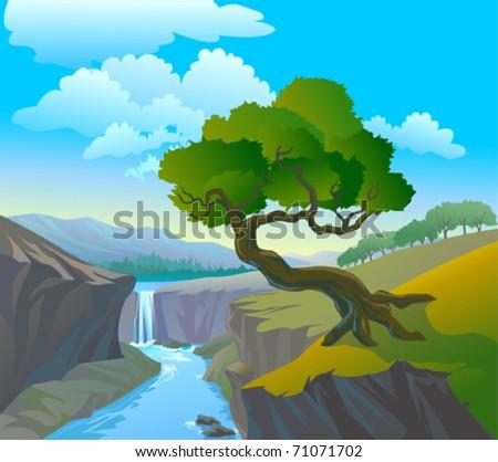 beautiful waterfall and tree