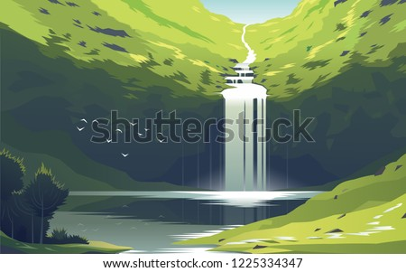 beautiful waterfall at the lake